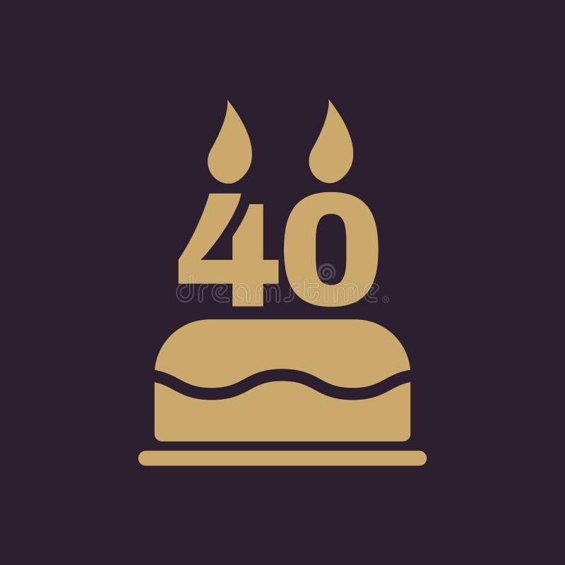 La torta de cumpleaños con las velas bajo la forma de icono del número 40 símbolo del cumpleaños plano stock de ilustración