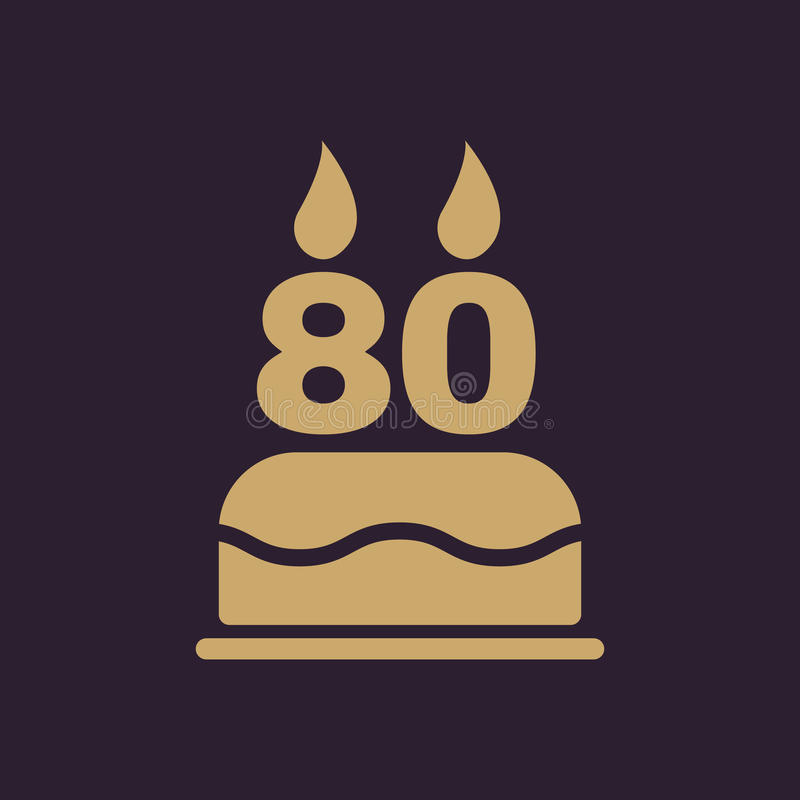 La torta de cumpleaños con las velas bajo la forma de icono del número 80 símbolo del cumpleaños plano stock de ilustración