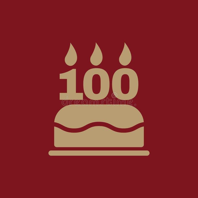La torta de cumpleaños con las velas bajo la forma de icono del número 100 símbolo del cumpleaños plano libre illustration
