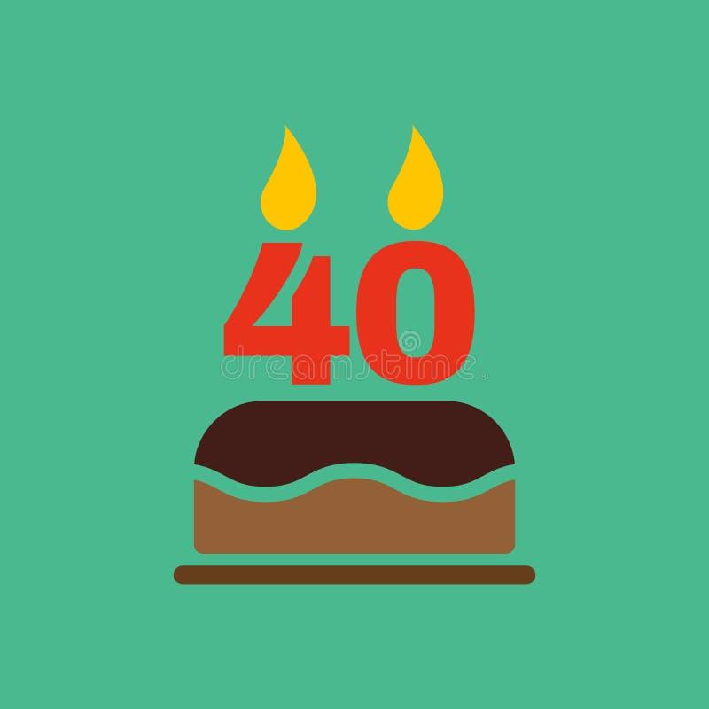 La torta de cumpleaños con las velas bajo la forma de icono del número 40 símbolo del cumpleaños plano ilustración del vector