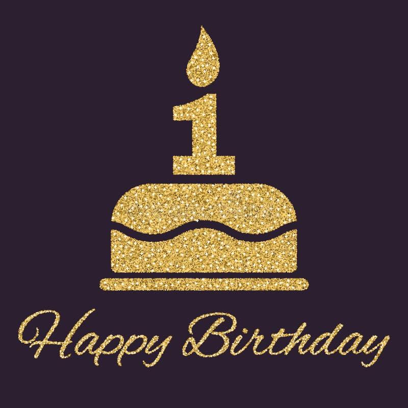La torta de cumpleaños con las velas bajo la forma de número 1 símbolo del cumpleaños Chispas y brillo del oro stock de ilustración