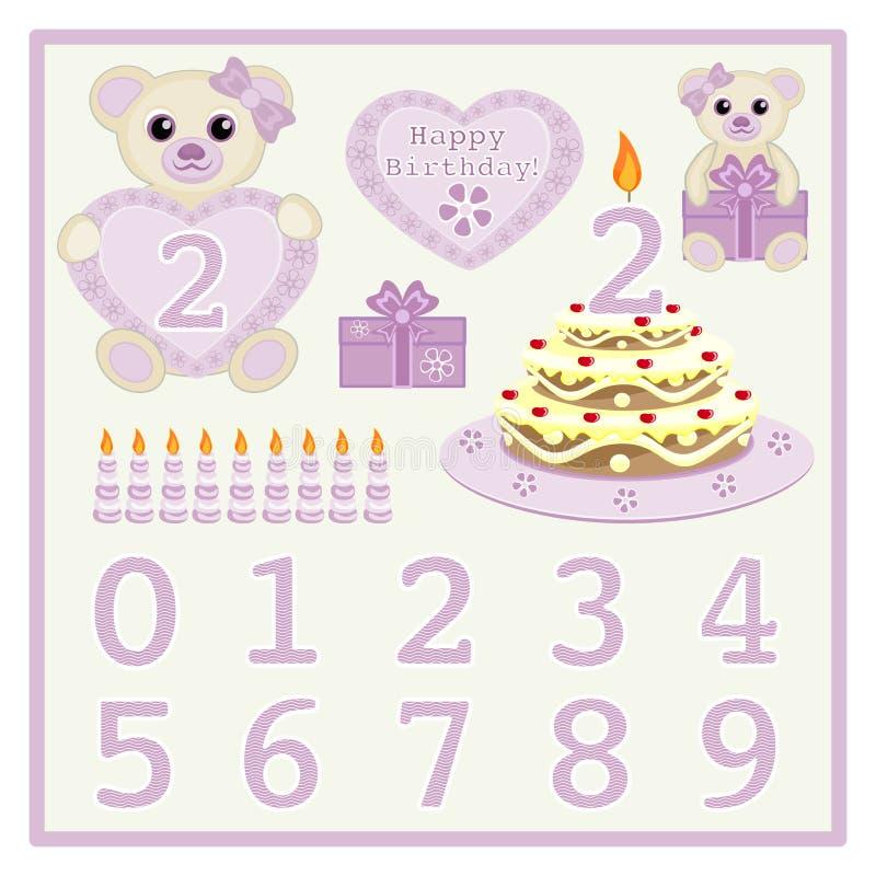 La torta de cumpleaños y el bebé lindo del vector de la vela lleva el ejemplo del vector con el corazón y numera vector del anima stock de ilustración