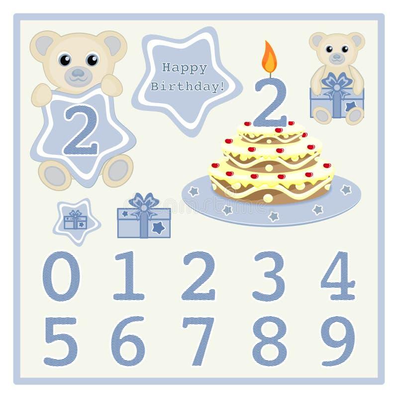 La torta de cumpleaños y el bebé lindo del vector de la vela lleva el ejemplo del vector con la estrella y numera al bebé de la h stock de ilustración
