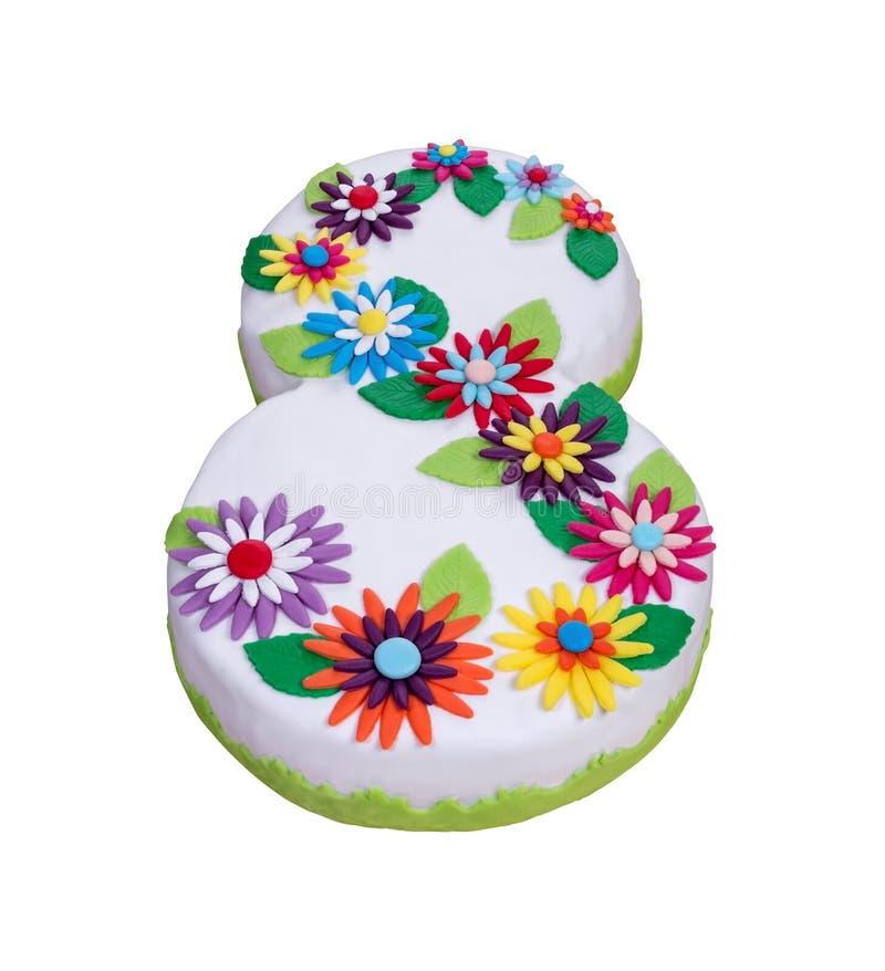 La torta floral original el 8 de marzo fotos de archivo