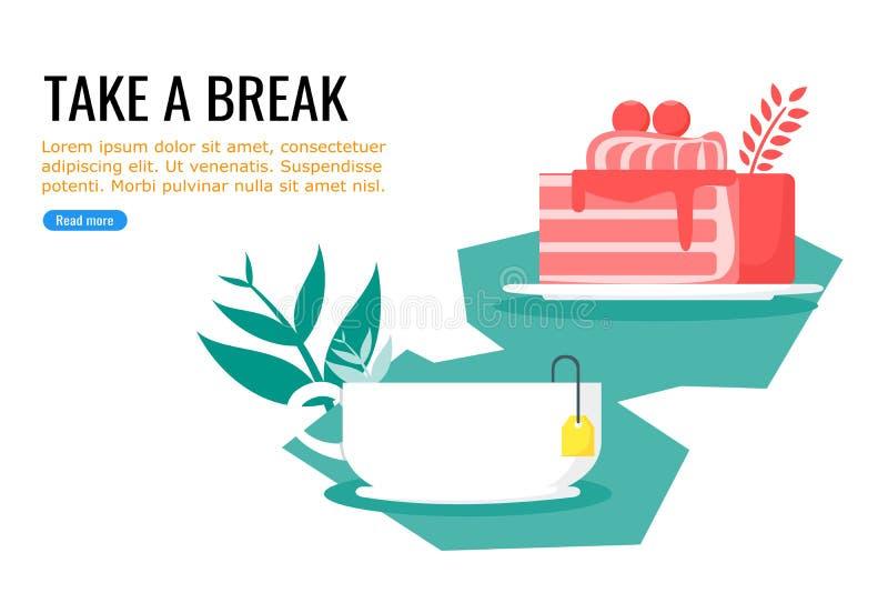 La torta y el té dulce caliente gratis miden el tiempo ilustración del vector
