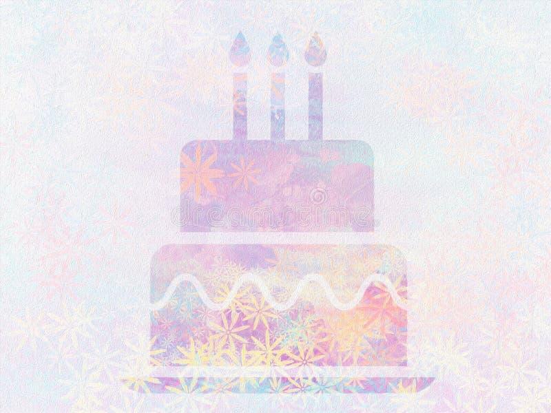 La torta y las velas pintadas hermosas de cumpleaños forman el papel pintado superficial del extracto del diseño ilustración del vector
