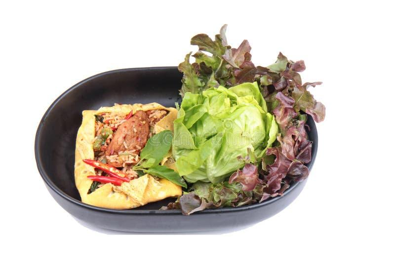 La tortilla frió albahaca picante con el cerdo, berenjena, lentejas, acacia, ji fotos de archivo libres de regalías