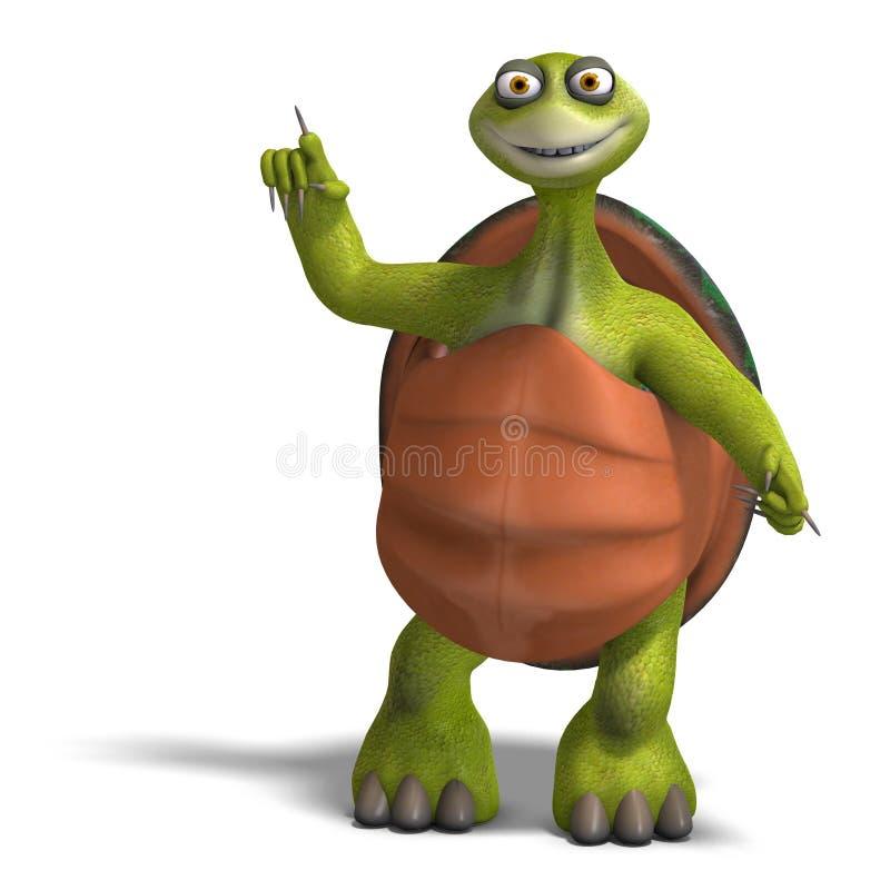 La tortue drôle de Toon apprécie la durée illustration de vecteur