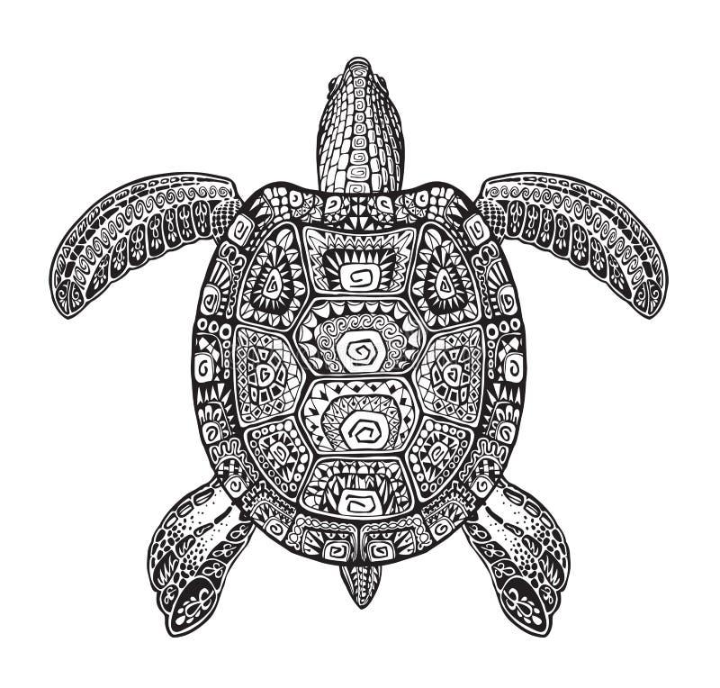 La tortuga acuática, tortuga pintó el ornamento étnico tribal Ejemplo dibujado mano del vector con los modelos decorativos ilustración del vector