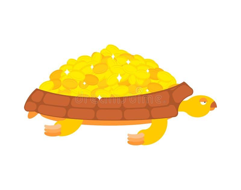 La tortuga de oro lleva monedas de oro Joyas en una cáscara ilustración del vector