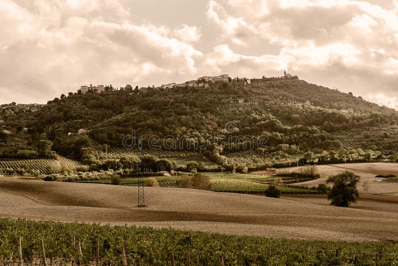 La Toscana - la città isolata della sommità di Montalcino fotografie stock
