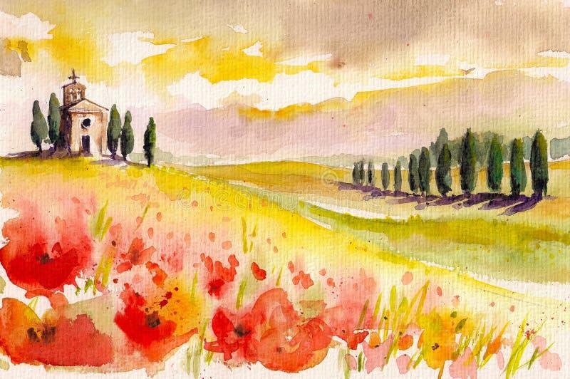 Download La Toscane illustration stock. Illustration du bleu, idylle - 32055745