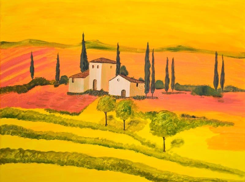 La Toscane dans l'orange illustration libre de droits