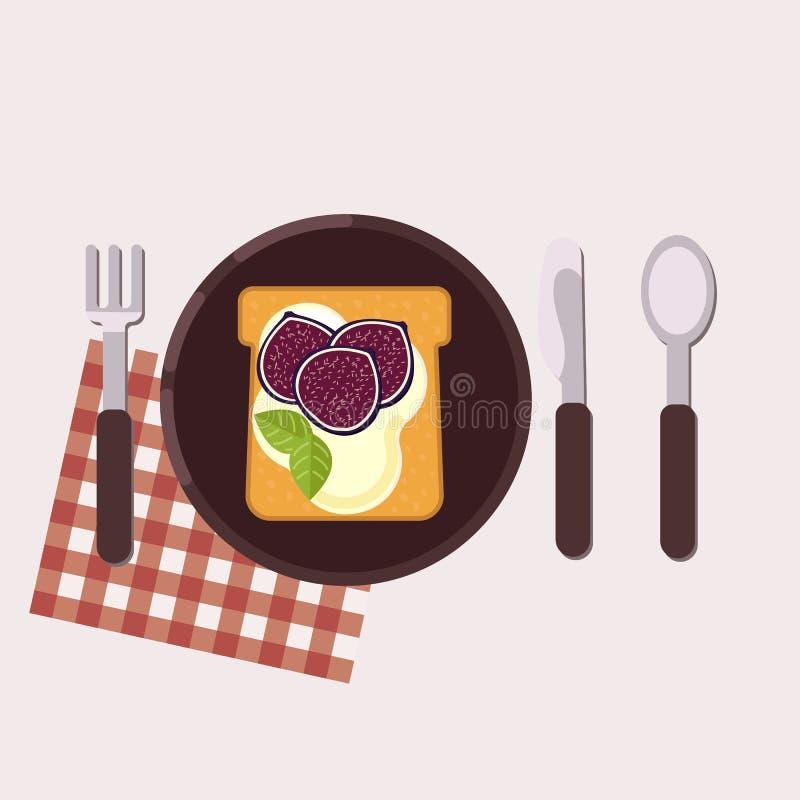 La tostada con el higo y el queso cremoso sirvió en una placa con la bifurcación, el cuchillo, la cuchara y la servilleta Aliment stock de ilustración