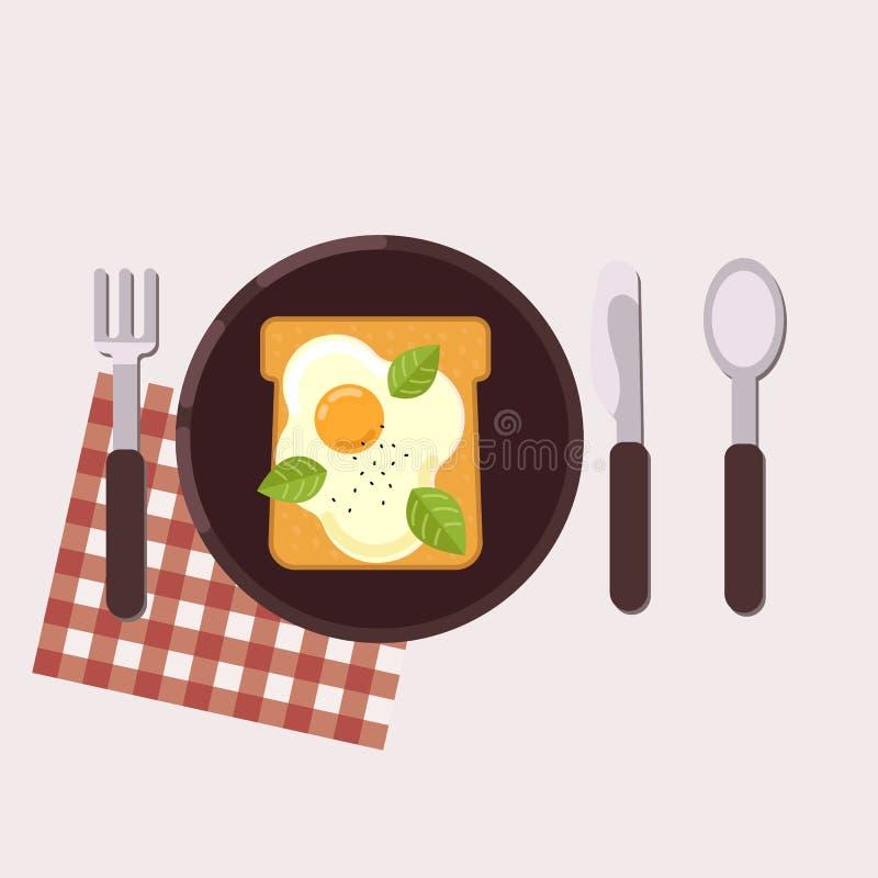 La tostada con el huevo frito sirvió en una placa con la bifurcación, el cuchillo, la cuchara y la servilleta Alimento sano Ilust ilustración del vector
