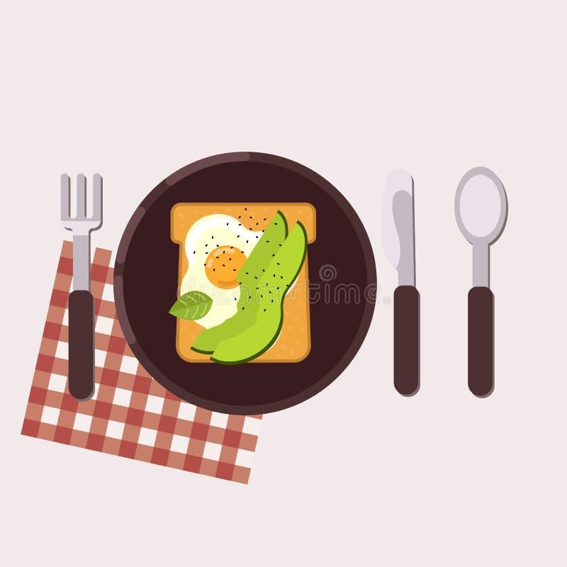 La tostada con el huevo frito y el aguacate sirvió en una placa con la bifurcación, el cuchillo, la cuchara y la servilleta Alime ilustración del vector
