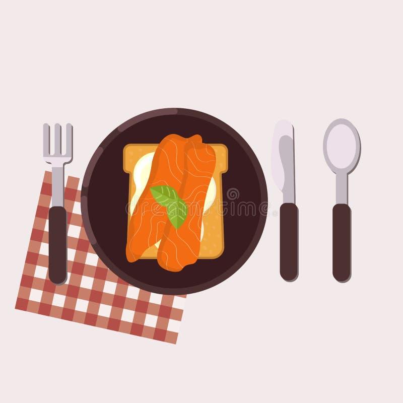 La tostada con el queso cremoso, los salmones y la albahaca sirvió en una placa con la bifurcación, el cuchillo, la cuchara y la  stock de ilustración