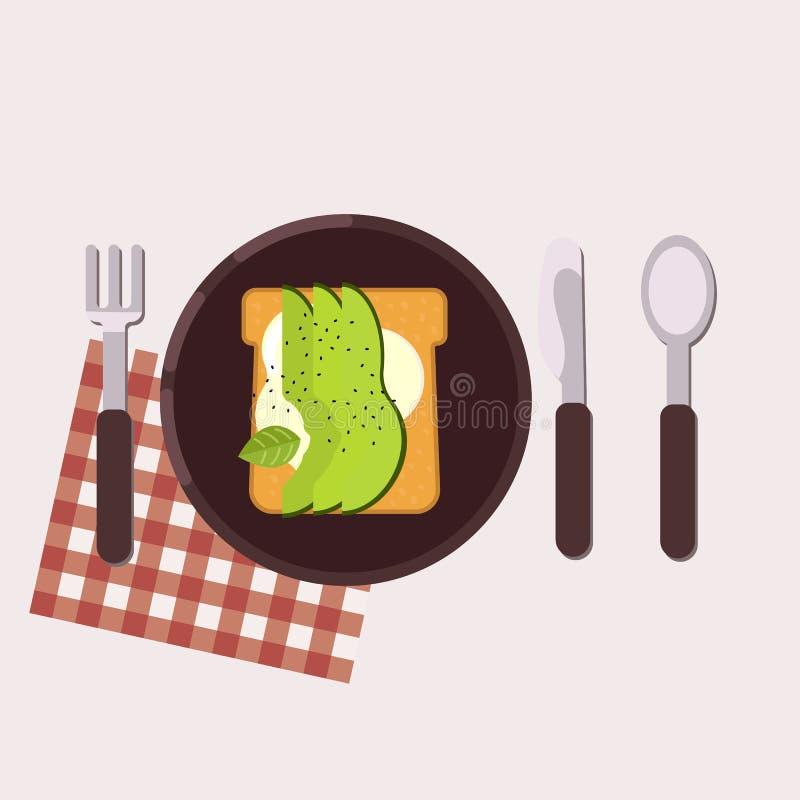 La tostada con el queso cremoso y el aguacate sirvió en una placa con la bifurcación, el cuchillo, la cuchara y la servilleta Ali libre illustration