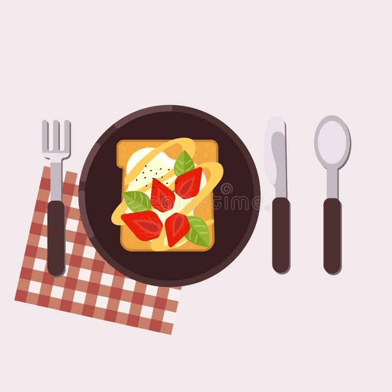 La tostada con la fresa y el queso cremoso sirvió en una placa con la bifurcación, el cuchillo, la cuchara y la servilleta Alimen ilustración del vector