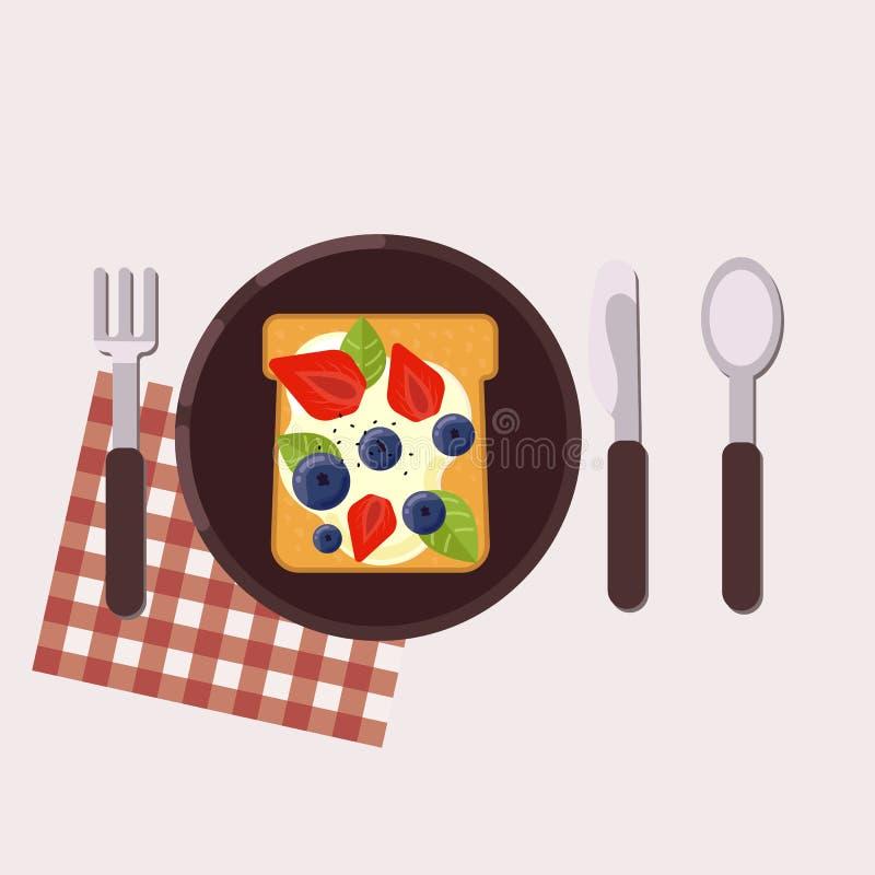 La tostada con las bayas y el queso cremoso sirvió en una placa con la bifurcación, el cuchillo, la cuchara y la servilleta ilustración del vector