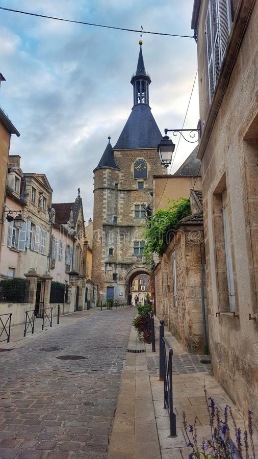 La tour d& x27;avallon, Bourgogne, France. View of the main street of the city of avallon in the central of france stock photos