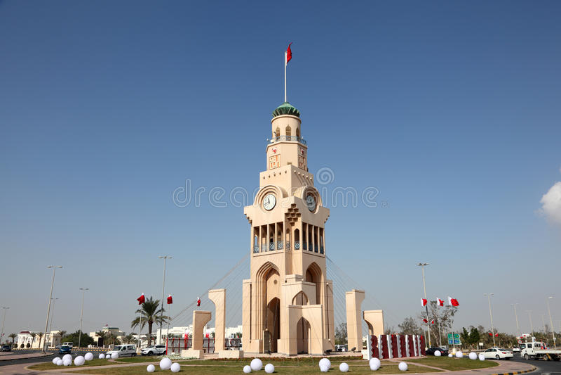 La tour d'horloge dans Riffa, Bahrain image stock