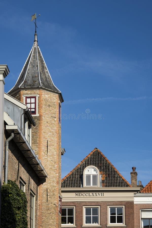 La tour dans la rue a appelé Petersbrug, Dordrecht, Pays-Bas photographie stock