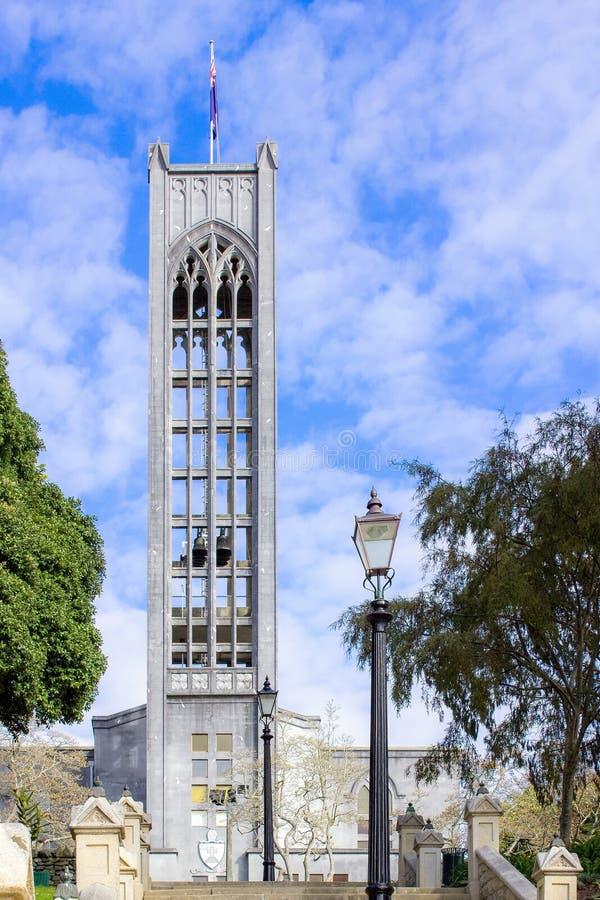 La tour de Bell de la cathédrale d'église du Christ, Nelson, Nouvelle-Zélande image libre de droits