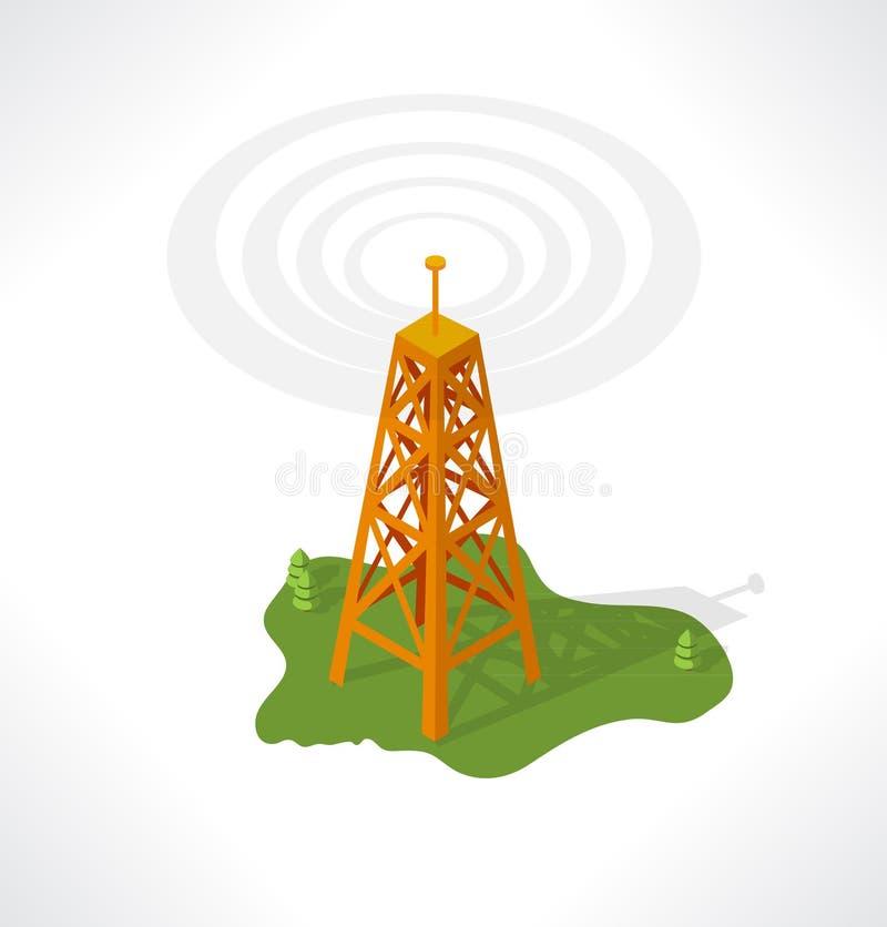 La tour de transmission. Bâtiment isométrique. illustration de vecteur