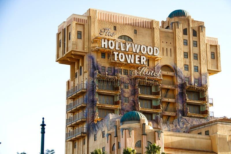 La tour de zone crépusculaire de l'hôtel de tour de Hollywood de terreur photos stock