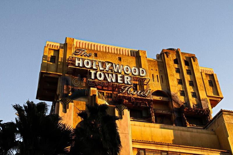 La tour de zone cr?pusculaire de l'h?tel i de tour de Hollywood de terreur images libres de droits