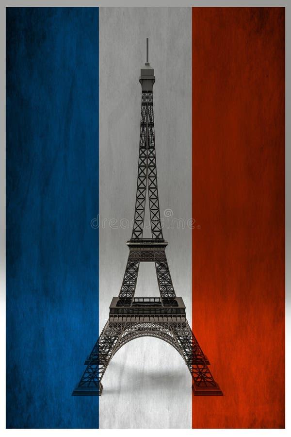 La Tour Eiffel isolée derrière le drapeau français illustration stock