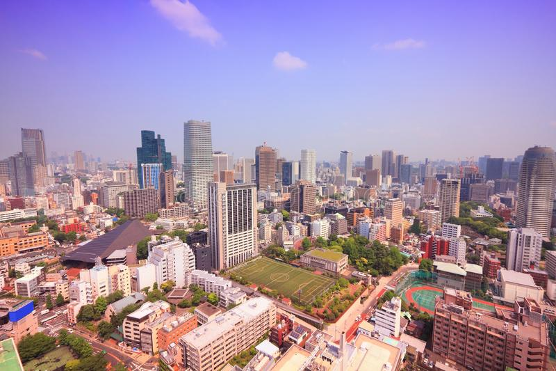 la tour en acier de Tokyo d'élévation résidentielle moderne élevée en verre concrète du Japon de constructions de construction d' photographie stock libre de droits