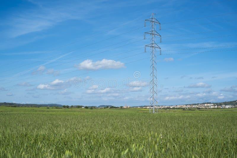 La tour et le câble à haute tension rayent dans la campagne sous un ciel bleu photographie stock libre de droits