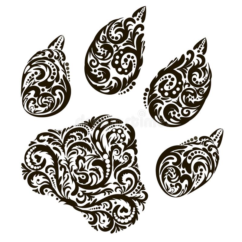La traccia, l'impronta della progettazione della bestia per il tatuaggio, logo, stampa, modello floreale, stile di fantasia Illus fotografie stock