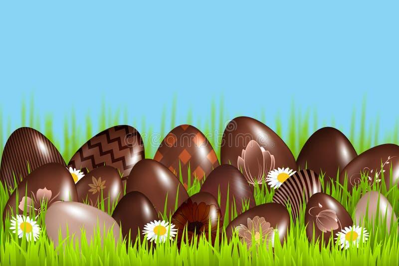 La tradición de los huevos de chocolate en Pascua en la hierba imagen de archivo libre de regalías