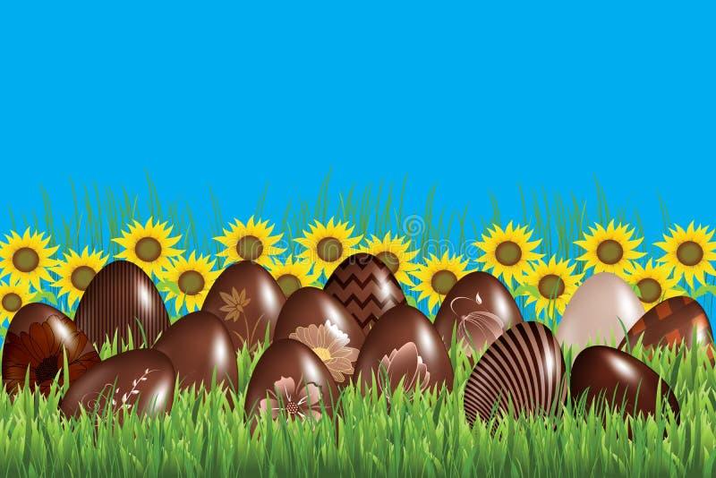 La tradición de los huevos de chocolate en Pascua en la hierba imágenes de archivo libres de regalías
