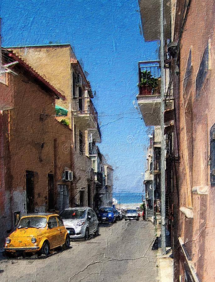 La Tradizionale Automobile Italiana In Via Sicilia immagini stock libere da diritti