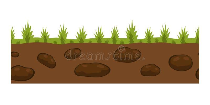 La tranche au sol en coupe a isolé de l'écologie extérieure de nature de morceau au fond et libre rendez le jardin naturel illustration stock