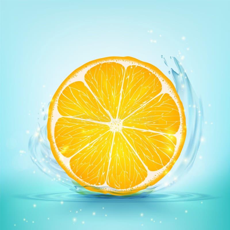 La tranche d'orange et de jus avec éclabousse et chute illustration libre de droits