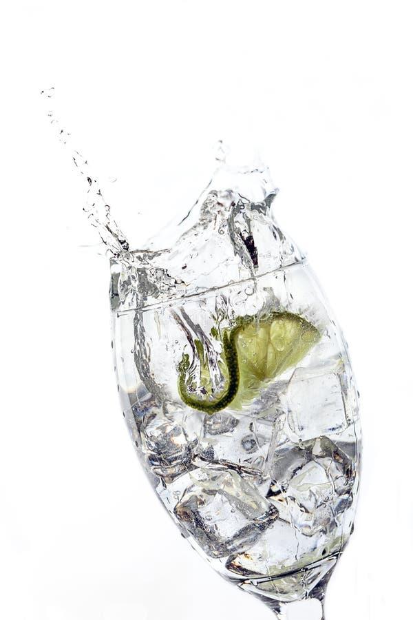 La tranche de chaux a chuté dans le verre de l'eau photographie stock libre de droits