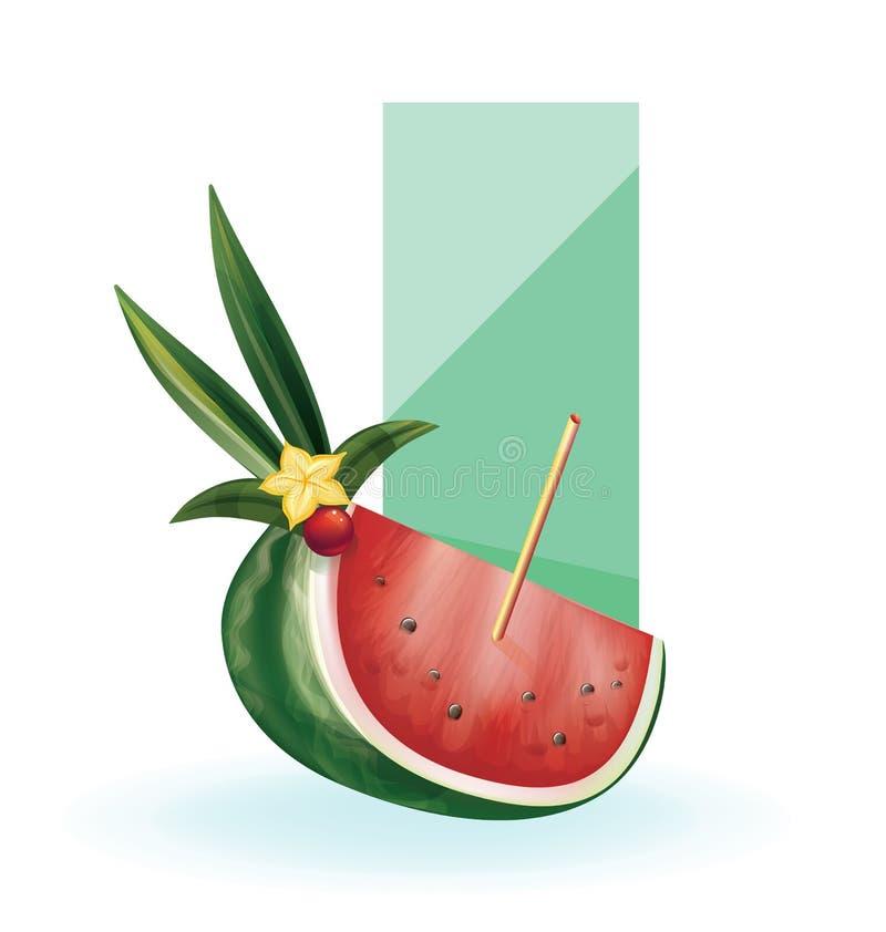 La tranche de fruit exotique a décoré réaliste d'isolement illustration libre de droits
