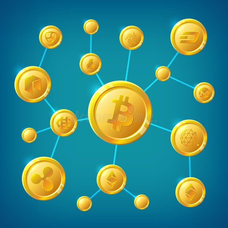 La transacción anónima de Internet de la descentralización de Blockchain, del cryptocurrency y del bitcoin vector concepto libre illustration