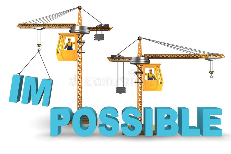 La transformation impossible en concept possible avec la grue illustration de vecteur