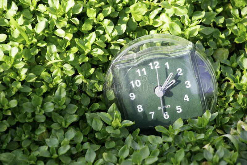 La transición al tiempo de verano, la llegada de la primavera, el reloj en el fondo de la hierba verde clara de la primavera con  fotos de archivo libres de regalías