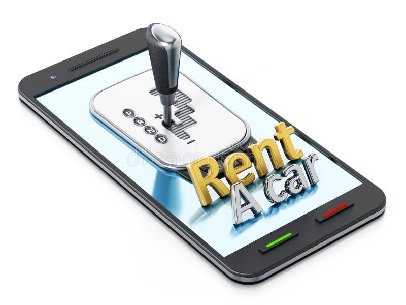 La trasmissione dell'automobile ed affitta un testo dell'automobile che sta sullo smartphone illustrazione 3D royalty illustrazione gratis