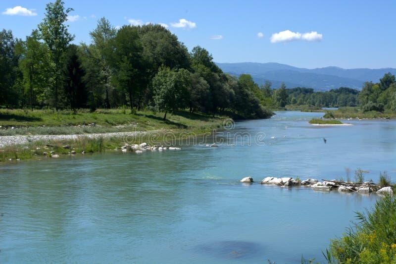 La travesía de río de Piave Belluno fotografía de archivo libre de regalías