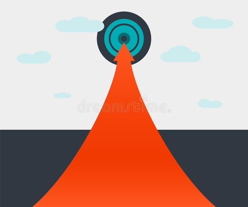La trayectoria a alcanzar de la meta El camino de la motivación sale y señala hacia arriba hacia su meta stock de ilustración