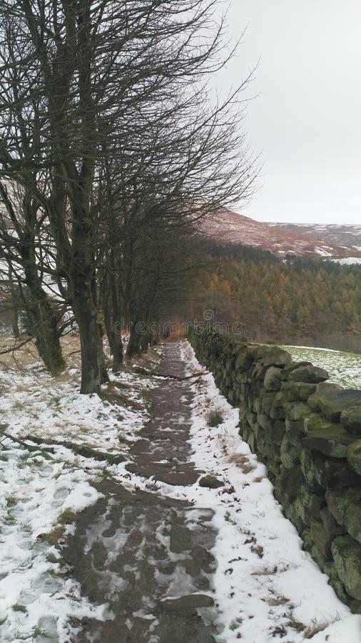 La trayectoria nevada en amarra fotografía de archivo libre de regalías