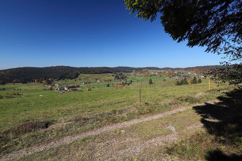 La trayectoria que caminaba preciosa llamó el ` de Ibacher Panoramaweg del ` cerca de Oberibach que mostraba el paisaje colorido  fotos de archivo libres de regalías